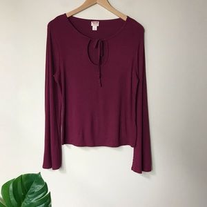 Mossimo | Bell Sleeve Keyhole Tie Chest Top Large